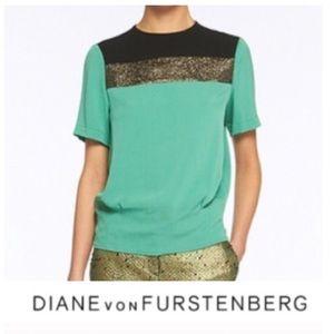 Diane Von Furstenberg Green Silk Top